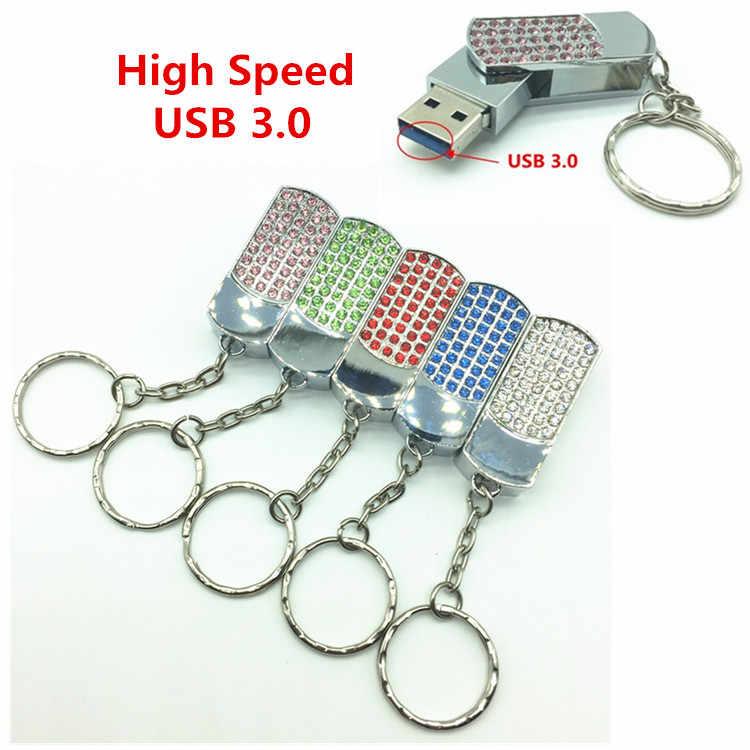 Metal kryształ pełna diament obrotowy brelok do kluczy USB 3.0 Flash napęd 4 GB 8 GB 16 GB 32 GB karta pamięci 64 GB brelok USB pen-drivy prezent