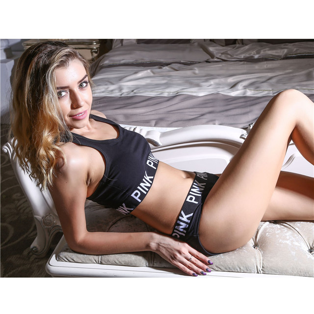 Realpopu 2017 Summer women's pink bra set brand underwear women crop bra Briefs fitness suits black and gray bra set underwear
