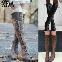 1cdbc986b XDA 2019 Woman Knee High Motorcycle Boots Cross Tied Lace Up Low Heel Women  Shoes Fashion
