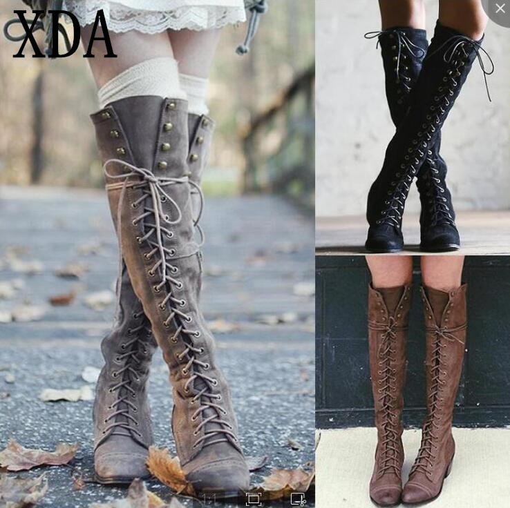 XDA 2019 Woman Knee High Motorcycle Boots Cross Tied Lace Up Low Heel women Shoes fashion Ladies Booties Rivets long BootsXDA 2019 Woman Knee High Motorcycle Boots Cross Tied Lace Up Low Heel women Shoes fashion Ladies Booties Rivets long Boots