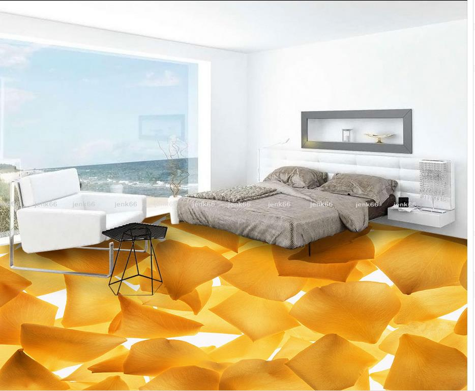 ФОТО 3D wallpaper 3d floor murals PVC  self-adhesive 3D floor Fashion golden sunflowers Home Decoration PVC waterproof floor