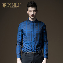 Pinli Direct Selling Full Products 2017 Autumn New Men's Clothing, Plaid Long Sleeved Shirt, Self-cultivation Shirt B173113235