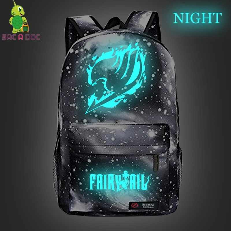 Anime Fairy Tail Backpack  Women Men Luminous Galaxy Travel Bags Children School Backpack Boys Girls Daypacks Kids Book Bag