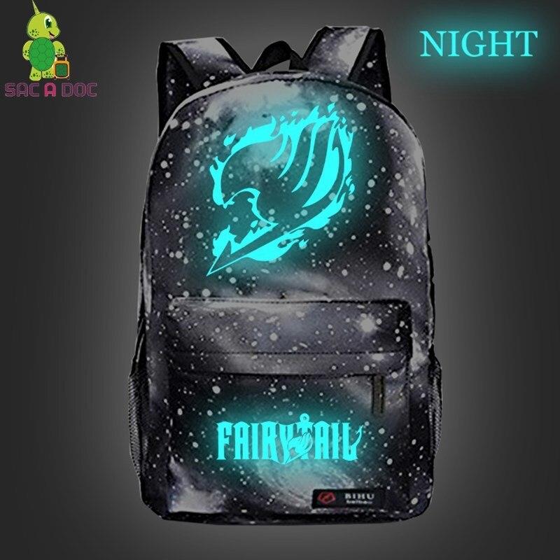 Anime Fairy Tail Backpack  Women Men Luminous Galaxy Travel Bags Children School Backpack Boys Girls Daypacks Kids Book Bag