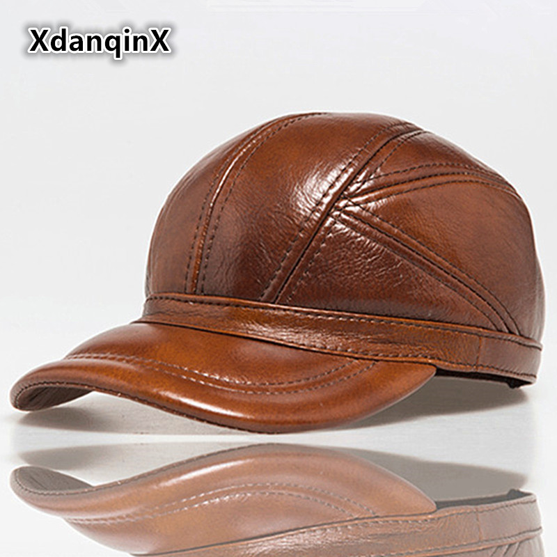 Men's Winter Hat Leather Warm Baseball Cap Snapback Cowhide Male Bone Balaclava Adjustable Casual Fashion Thicker Dad's Hats leather wool hat middle aged men s winter warm thick sheepskin flat baseball cap winter snapback bone ear protection cap