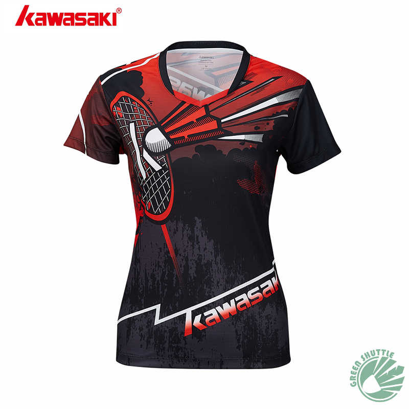 2019 Genuine 100% New Kawasaki Badminton Shirt Ink Color ST-S1105 Men And Women Short-sleeved Blouse Clothes