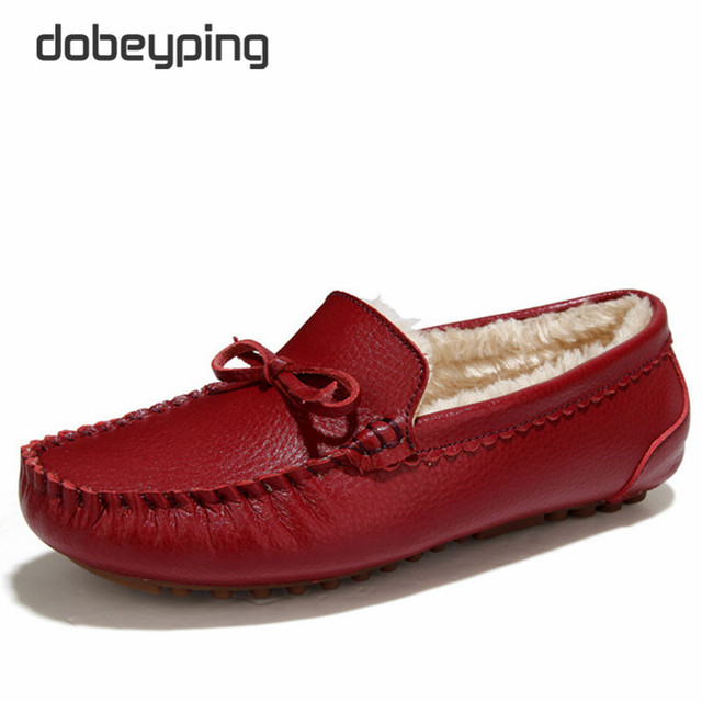 Winter Fur Women Loafers Slip-on Leather Ladies Flats Warm Plush Driving Boat Shoes Woman Moccasins New Casual Female Solid Shoe