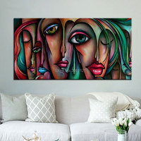 Handmade Picasso Style Oil Paintings Big Eye Girls Canvas Art Modern Abstract Woman Figures Wall Pictures