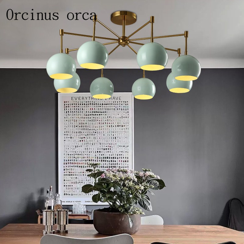 Nordic Modern, Minimalist Candy Colored Chandeliers Living Room Bedroom Restaurant Fashion Creative LED Ceiling Lamp