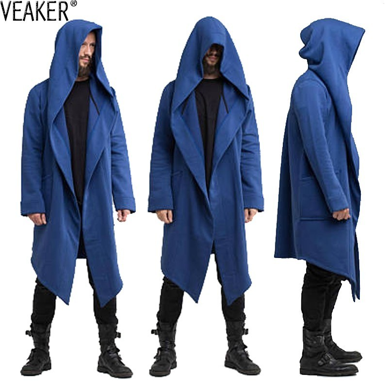 2018 Autumn New Men's Long Mantle Hoodies Outerwear Solid Color Hooded Streetwear Male Loose Long Hoodies Sweatshirt Cloak