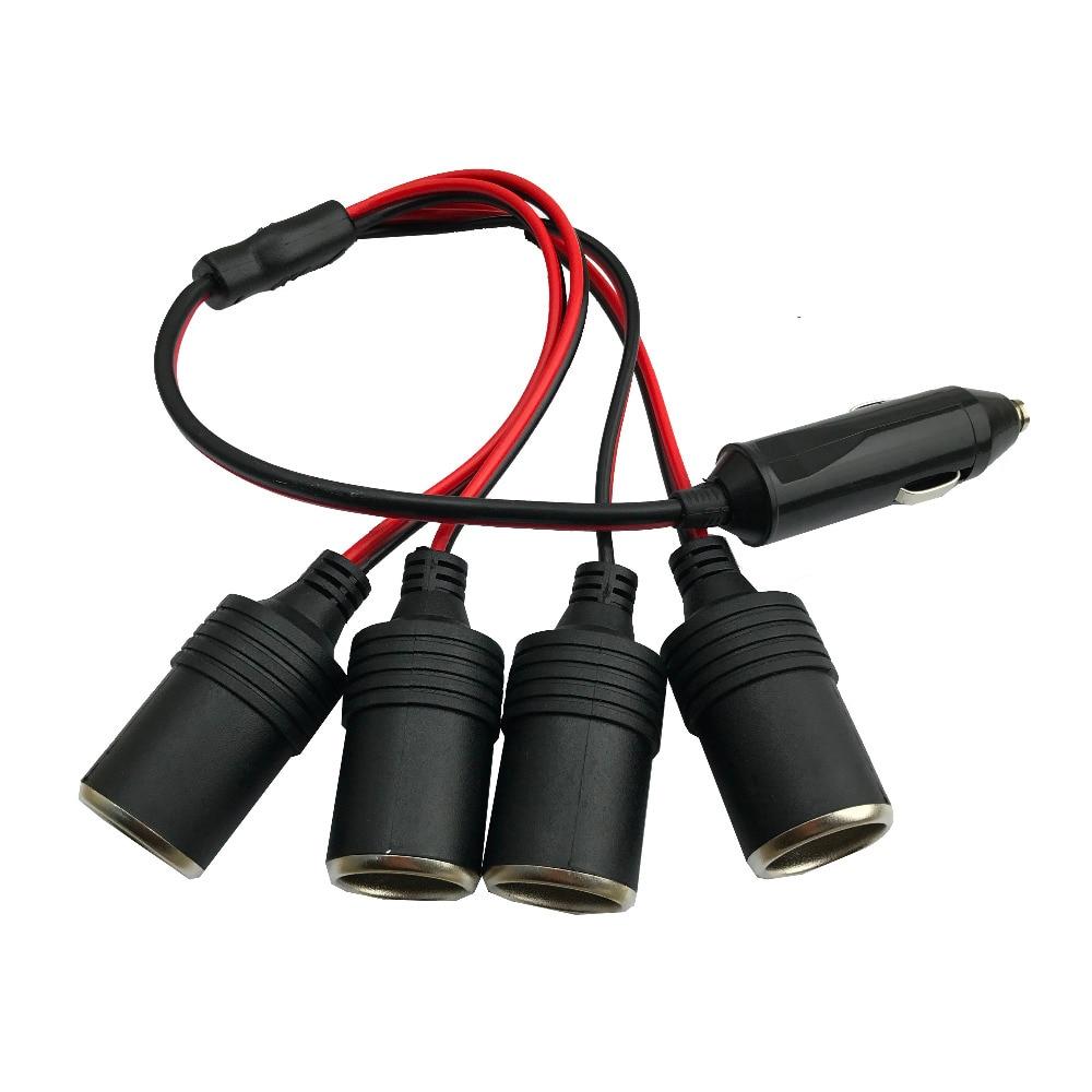 4-Socket Cigarette Lighter Car Charger 5A Power Charger Adapter 1 to 4 Way Socket Splitter Female Socket Plug Connector Adapter