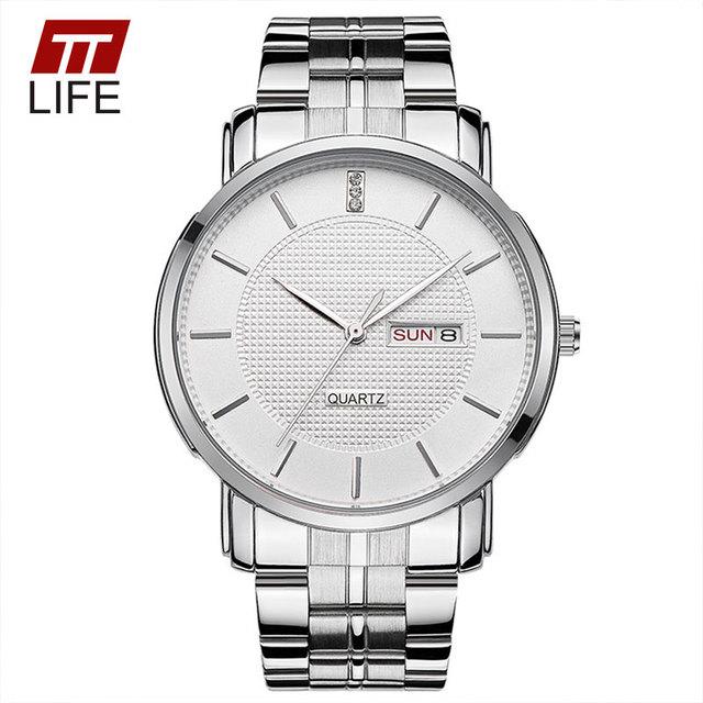 2016 TTLIFE Casais de Luxo Da Marca dos homens de Negócios de Aço Inoxidável Relógio de Quartzo Amantes Relógio Relógio Casual Relógios de Pulso Das Mulheres Quente