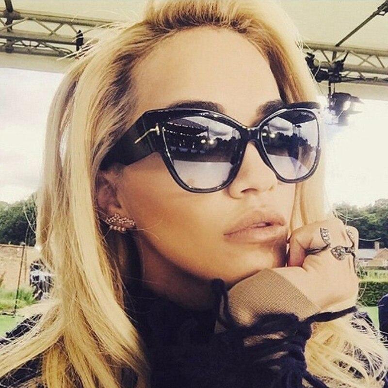 ZXRCYYL 2019  NEW Women Fashion Cat Eye Sunglasses Ladies Luxury Brand Trending Oversized Sun Glasses  Protection UV400