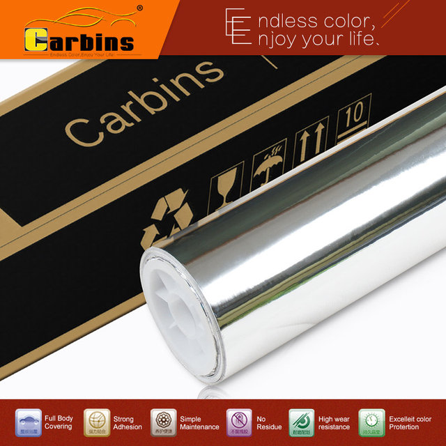 Hi flexible chrome! Silver chrome mirror vinyl car wrap sticker with import glue and stretchable film, 160g paper with channels