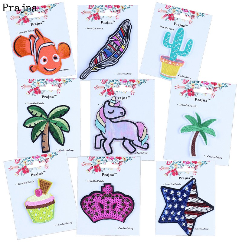 Prajna Unicorn Cactus Icecream Crown Patch Gift Card Hot Sale Embroidery Iron On Fish Feather Patches Badges ForClothes Applique