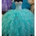 Cheap Quinceanera Vestidos Querida Cristal Ruffles vestido de Baile Vestidos Quinceanera Turquesa Vestidos De Marmelo Anos 2016