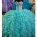 Vestidos de Quinceañera barato Cristalino Del Amor Ruffles vestido de Bola de la Turquesa Vestidos de Quinceañera Vestidos De Fiesta de Quince Años 2016