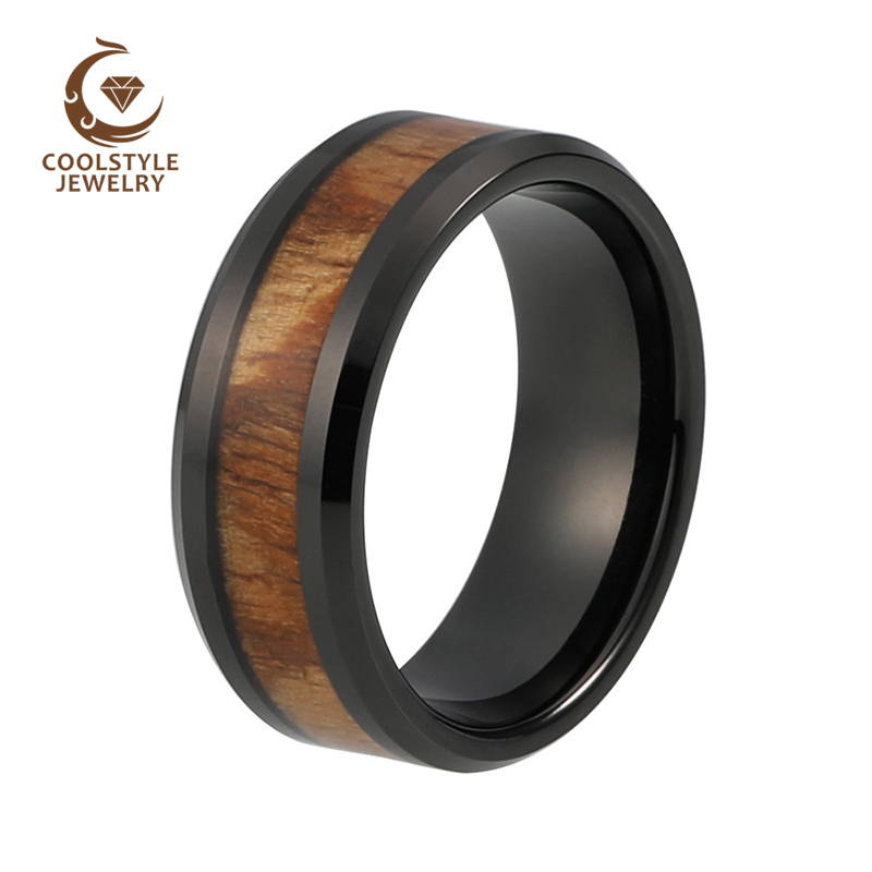 8mm Black Men's Tungsten Carbide ring Red Wood Inlay Wedding Band Mens Womens jewelry Size 5 to 15 black tungsten carbide with dark wood inlay mens wedding ring