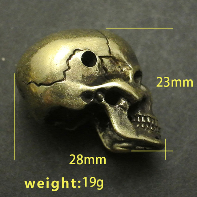 White Copper Brass Polishing Skull Head DIY Pendant Paracord Rope Pendants Personalized Accessories EDC Camping Knife Beads