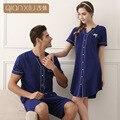 2016 amantes pijamas cardigan nuevo traje de verano de hombres y mujeres par de pijamas pijamas Equipamiento Del Hogar del color sólido 1653