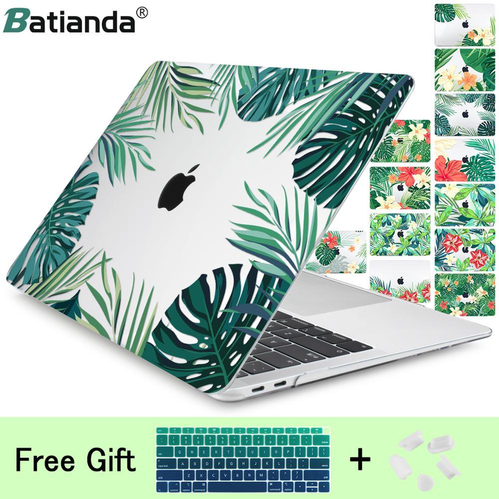 Folhas verdes belas pétalas impressas capa de plástico para macbook air 11 12 13 2018 a1932 pro 13 15 w/para fora barra toque 2019