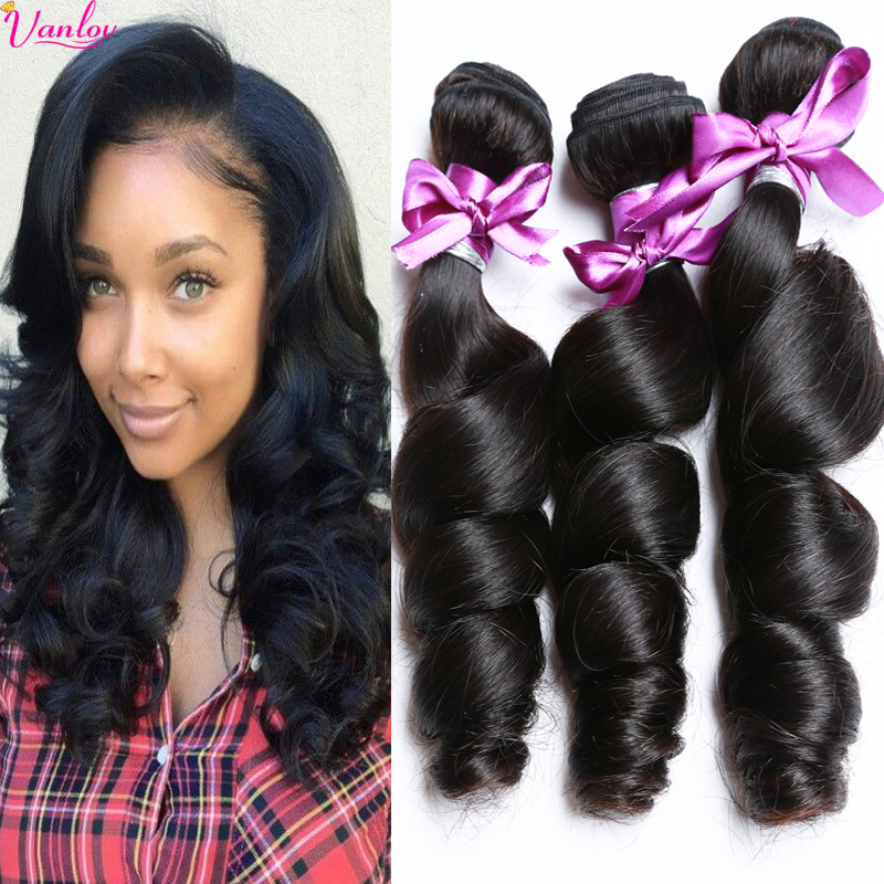 7A Brazilian Virgin Hair Loose Wave Brazilian Loose Wave Virgin Hair 3 Bundle Deal Human Hair Loose Curly Brazilian Hair Bundles