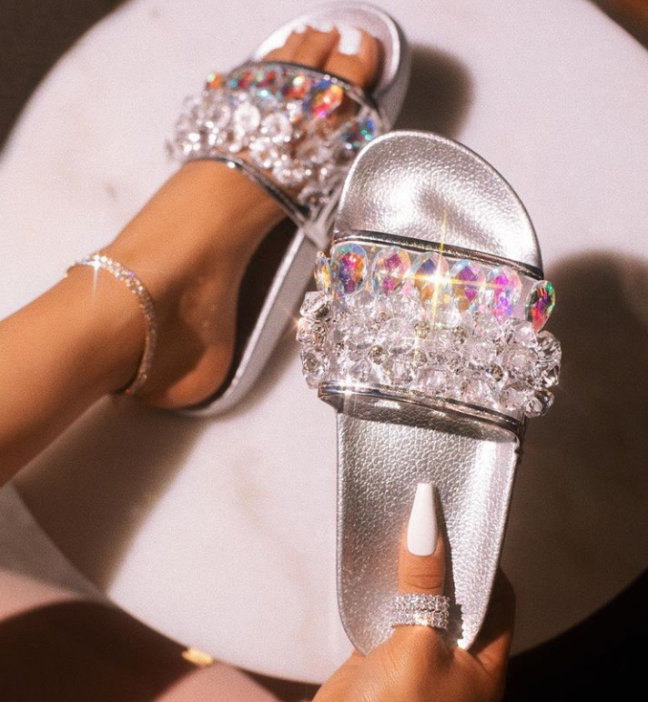 Womens Ladies Slip On Sparkly Diamante Bling Sliders Holiday Summer Sandals Size