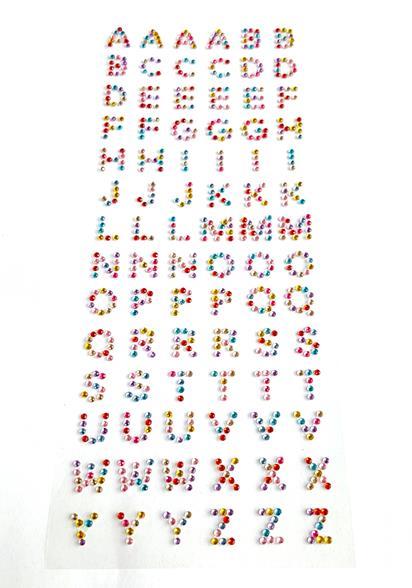 12 hoja Mix color Crystal alfabeto carta número recuerdos ...