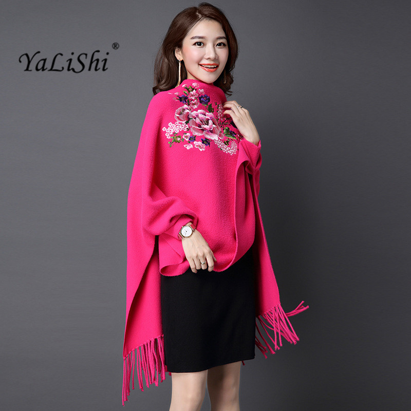 2017 Autumn Women Poncho Batwing Sleeve Flower Embroidery Poncho cashmer Tassels Cardigans Winter Poncho Cape Double-sided Shawl