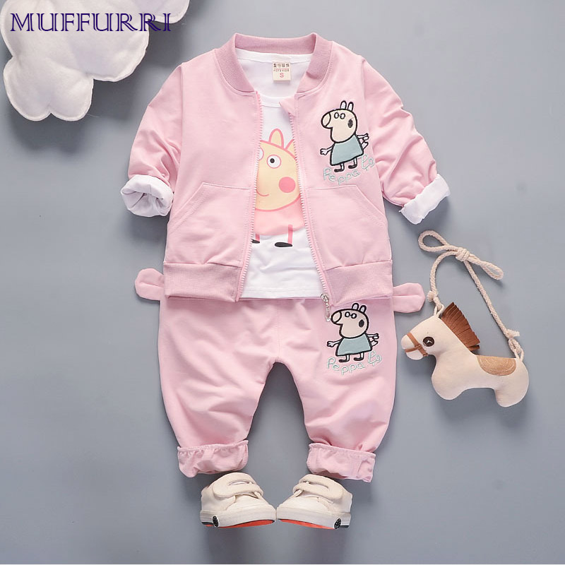 Muffurri Autumn Baby Clothes Set Boys Girls Long Sleeve Jacket Children Peppa Pig Print T Shirt Pants Cute Kids Clothing 2pcs 2pcs children outfit clothes kids baby girl off shoulder cotton ruffled sleeve tops striped t shirt blue denim jeans sunsuit set