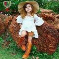 KAMIMI 2017 лето девушки одеваются новый 100% Хлопок для девочки 2-6 лет случайные белый розовый принцесса flare рукавом мило моды платья A259