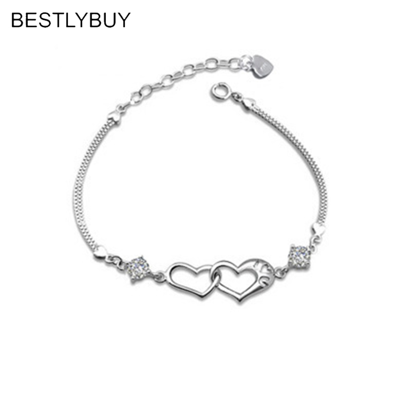 BESTLYBUY 2018 Hot New Fashion Adjustable Crystal Double Heart Bilezik Cuff Bracelet Women Jewelry Gift Mujer Pulseras