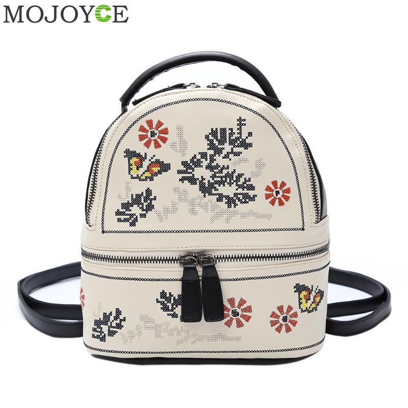 PU Embroidery Backpack School Bags for Teenagers Girls Women Travel Rucksack Autumn Backpack Women Mochila Sac A Dos Femme 2017 fashion women s backpack 2017 cute owl backpacks pu leather school bags for teenagers girls female rucksack sac mochila feminina