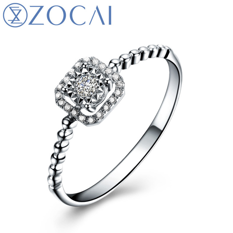 ZOCAI Square Shape Genuine 0.09 CT Certified Real Diamond Engagement Ring 18K White Gold (AU750) W05404ZOCAI Square Shape Genuine 0.09 CT Certified Real Diamond Engagement Ring 18K White Gold (AU750) W05404
