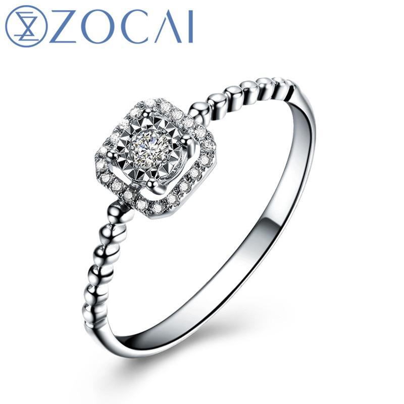 Zocai квадратной формы подлинная 0.09 СТ сертифицированный настоящее бриллиантовое обручальное кольцо 18 К белого золота ( AU750 ) W05406