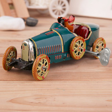 Vintage Metal Tin Sports Car with Driver Clockwork Wind Up Toy Collectible Hot Selling