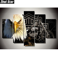 Zhui Star 5D DIY Full Square Diamond Painting Eagle Motorcycle Multi Picture Combination Embroidery Cross Stitch