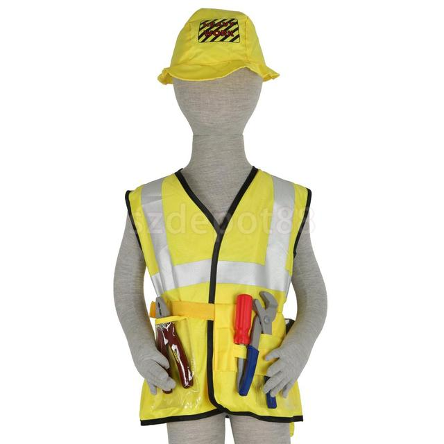 Kids Construction Worker Costume Halloween Party Fancy Dress Role Play Toys  sc 1 st  AliExpress.com & Kids Construction Worker Costume Halloween Party Fancy Dress Role ...