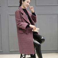 المرأة رفض طوق مزدوجة الصدر أزياء الشتاء الصوفية متوسطة طويلة معطف أنثى أبلى جيوب سميكة نشمر الأكمام معاطف