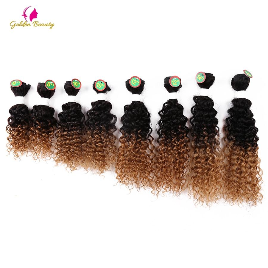 Zlatá krása šít v prodloužení vlasů 8-14inch kudrnaté - Syntetické vlasy