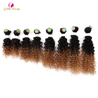 Golden Beauty Sew in Hair Extensions 8 14inch Curly Synthetic Hair Weave 8pcs/pack for a head