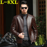 8XL 7XL plus size Autumn and winter slim motorcycle Genuine leather coats men casual coat mens Genuine Leather jacket fashion