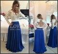 Royal Blue Largo Partido Completo de La Manga de Encaje Blanco Vestido Formal vestido Escarpado Volver Vestido Para Festa 2017 Abiti Da Cerimonia Lunghi