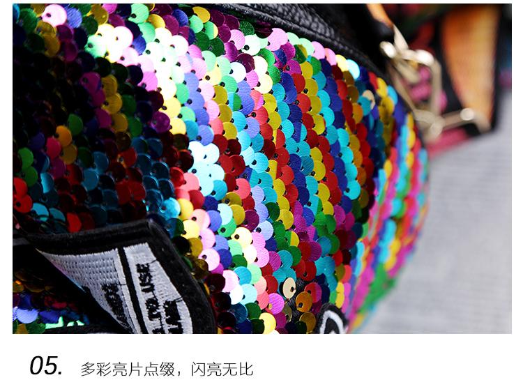 backpack women Fashion Women Bling Shiny Sequins Sparkling Shoulder Bags Larger Capacity Drawstring Bag backpack 96