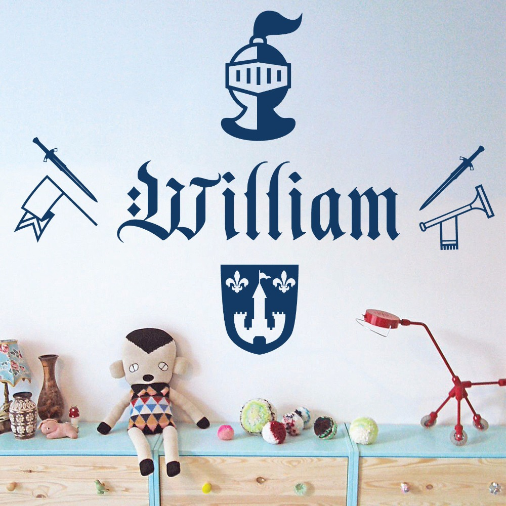 Personalised Name Boys Wall Art Sticker Knight Sword Armour Trum Removable Bedroom Decoration Art Mural Decals Kids Room S164