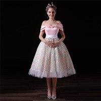 New Arrival Short Floral Prom Dresses 2018 A Line Strapless Off Shoulder Pink Formal Evening Party Dress for Wedding
