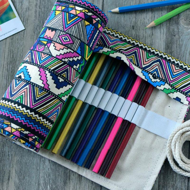 36 Holes Artist Pencils Pouch Case Pencil Wrap Pen Box Pencil Case Canvas Roll Up Makeups Storage Bag Comestic Bags magnetic buckle up pencil case