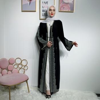 Элегантные бриллианты, открытая красная/черная мусульманская абайя для женщин, платье большого размера, свободное платье для взрослых, мус...