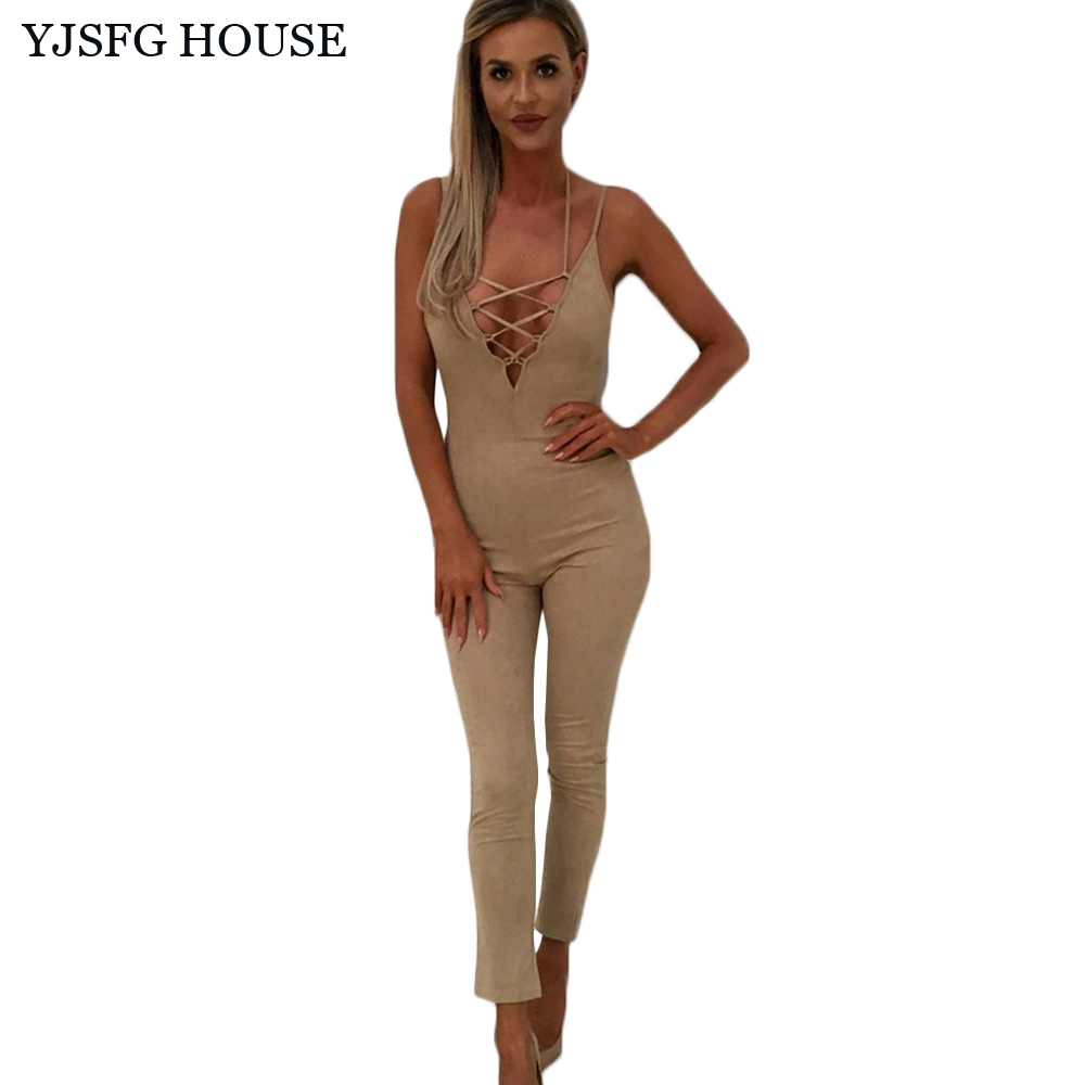 76c3117edbd YJSFG HOUSE Sexy Women Deep V-neck Bodycon Jumpsuit Elegant Sleeveless  Hollow Out Rompers Bodysuit Ladies Backless Slim Overalls