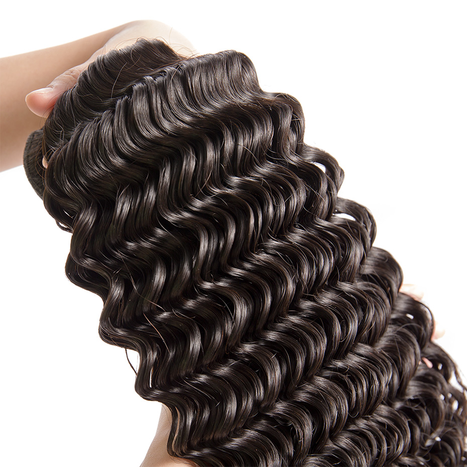 MS Lula Brazilian Hair Deep Wave 3 Bundles With 4X4 Closure Human Remy Hair Bundle Free Part Extension  30 32 34 36 38 40 Inch